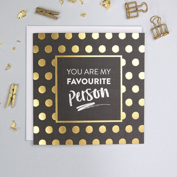 Birthday Card Best Friend Bff Gifts Best Friend Card Bff Birthday Friendship Card Thank You Card Favourite Person Gold Foil