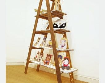 Ladder Shelf Display Shelving Unit Folding A Frame Urban Vintage Style Hand Painted Two Size Options Pop Up Shop Solution