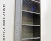 Sci Fi Shelf Unit Bookshelf Futuristic Shelving Gaming Storage Collectables Display In Silver Metallic Paint