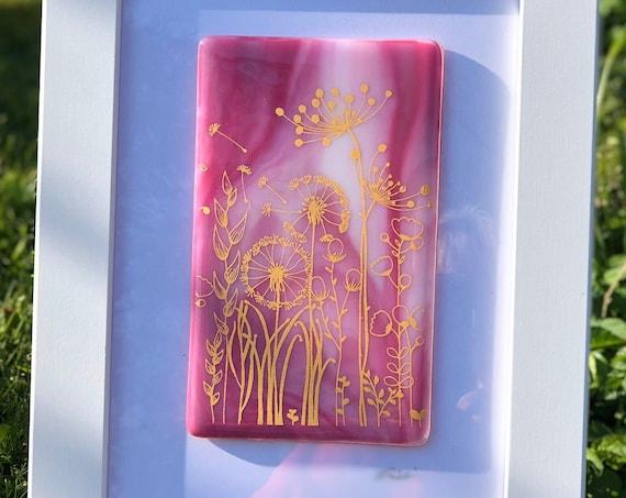 Pretty Pink Glass Seedhead Picture - dandelion print, dandelion gifts, seedhead picture, milestone birthday, 50th birthday, anniversary