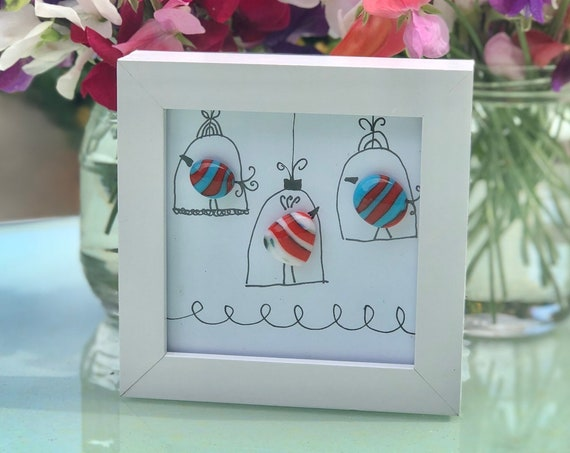 Stripy Glass Birds in Cages Pebble Picture - 50th, 60th, 70th, wedding gift, retirement gift, bird gifts, cute birdies, leaving gift, mum