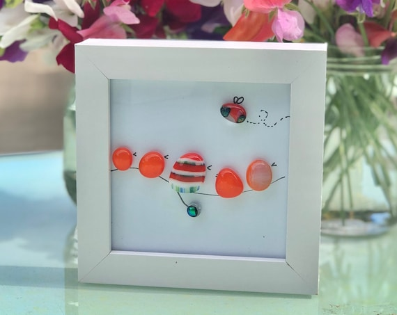 Orange Glass Birds and Bee Pebble Picture - 50th, 60th, 70th, wedding gift, retirement gift, bird gifts, bee picture, cute birdies, leaving