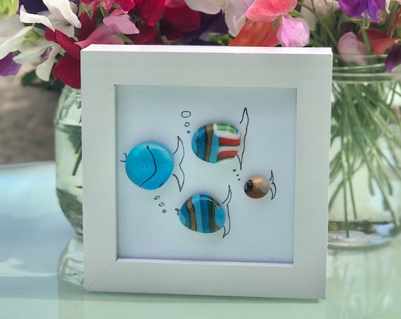 Stripy Glass Fish Pebble Picture - 50th, 60th, 70th, wedding gift, retirement gift, fish gifts, pebble fish, fish picture, pebble art, mum