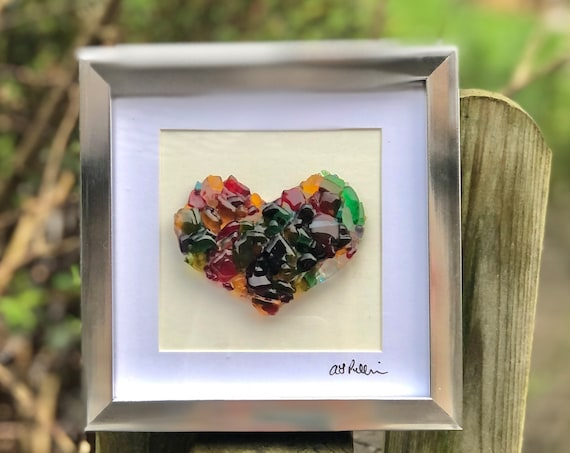 Rainbow Glass Heart in frame - glass heart, heart picture, wedding gift, anniversary gift, engagement, valentines, love, dichroic, rainbow