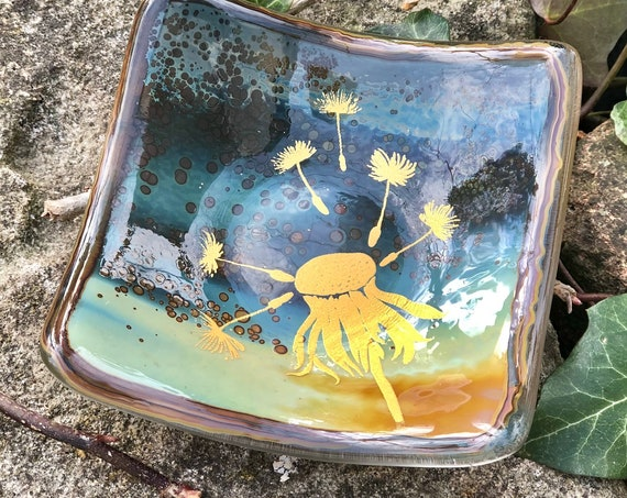 Gold Dandelion on Muted Tones Glass Ring Dish - seedhead, glass gifts, 18th birthday, glass flower, dandelion gifts, earring dish, ring dish