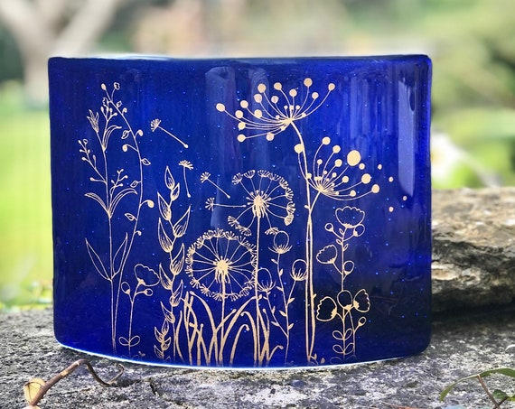 Transparent Royal Blue Free Standing Glass Curve with gold seed head decoration - ruby wedding anniversary gifts, wedding, anniversary gifts