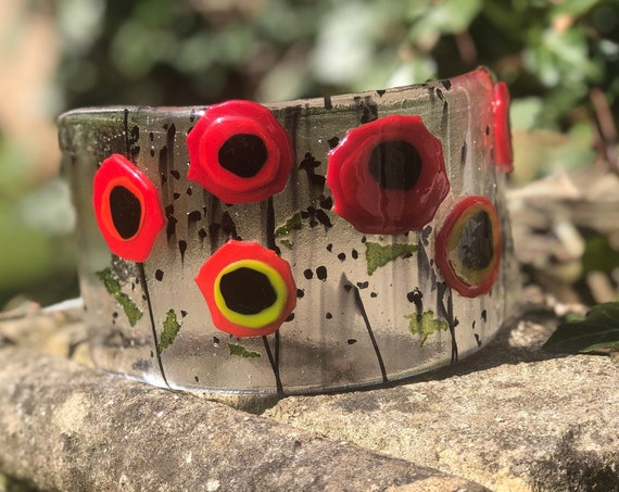 Red Funky Poppy Free Standing Glass Curve - ruby wedding, anniversary gifts, wedding gifts, glass flower, 50th birthday, poppies,poppy gifts