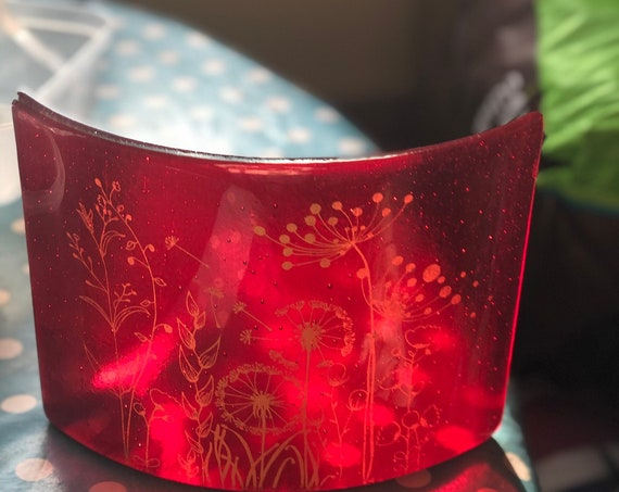 Transparent Ruby Red Free Standing Glass Curve with gold seed head decoration - SLIGHT SECONDS - ruby wedding anniversary, glass flowers