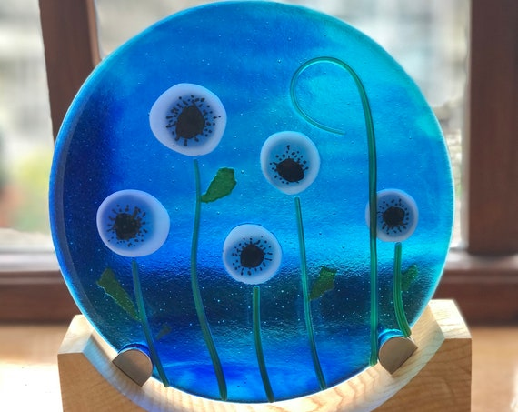 Blue Glass with White Anemone Panel - white anemone, glass flowers, glass flower panel, special birthday, Silver wedding gift, poppy gifts