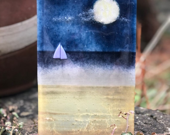 Glass Seascape At Night Standing Panel - glass gifts, beach glass, ocean at night, moonscape, glass beach panel, glass moonlight, wedding