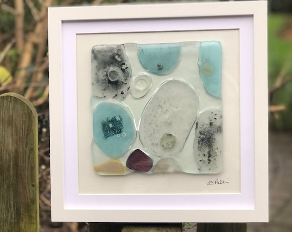 Amoeba Glass Pebble Picture - glass gifts, glass pebbles, glass art, home decor, original gifts, handmade pebble picture, contemporary glass