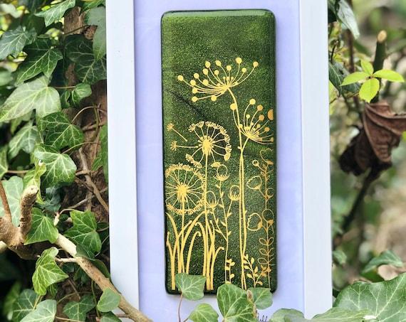 Glittery Green Glass Seedhead Picture - dandelion print, dandelion gifts, seedhead picture, milestone birthday, 50th birthday, anniversary