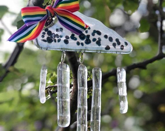 Glass Rain Cloud Suncatcher - cloud gifts, cloud suncatcher, raincloud, 40th, 50th, glass gifts, suncatcher crystal, glass art, wind chime