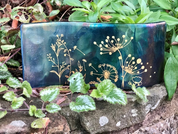Blue Iridescent Glass Seed Head Curvy Panel - 50th, 60th, 70th, dandelion, golden wedding, anniversary, retirement, leaving gift, birthday