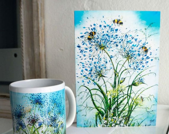A5 Art Cards Set of 4 - Kelston roundhill, agapanthus card, flower painting card, bee card, hand painted cards, blank card, art cards,floral