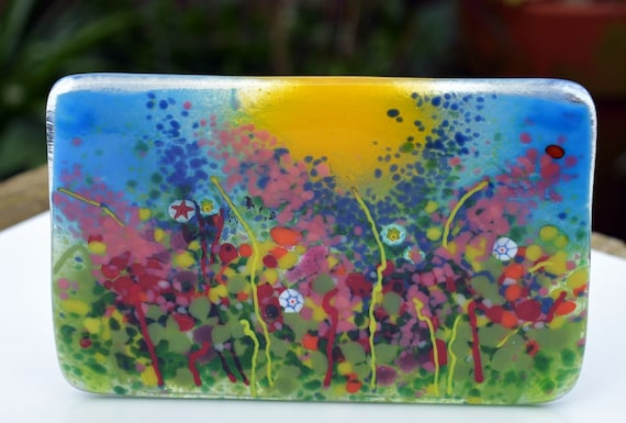 Rainbow Coloured Cheerful Glass Standing Tealight Panel - flowers, poppy, garden, gifts, birthday, gardener, sunshine, funky, foxgloves, mum