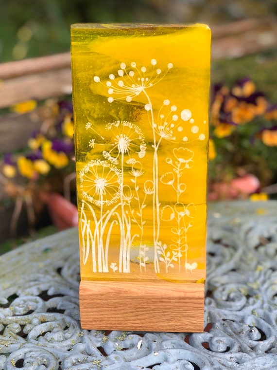 Yellow Glass Floral Panel - Mother's Day, gifts, birthday, flowers, cow parsley, dandelion, home