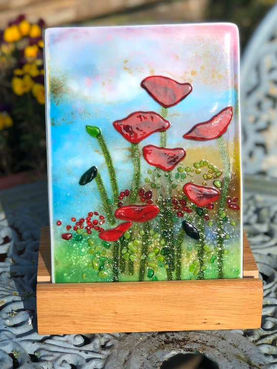 Red Poppy Meadow Flower Panel in Wooden Stand - gift, birthday, Mother's Day, floral, handmade, wedding, anniversary, friend, homedecor