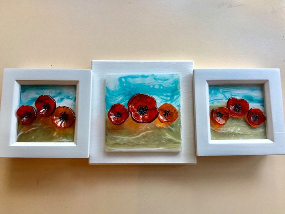 Glass Poppy Triptic Wall Hanging- poppies, red, flowers, gifts, ruby, anniversary, birthday, gifts, homedecor, picture, art, glassart