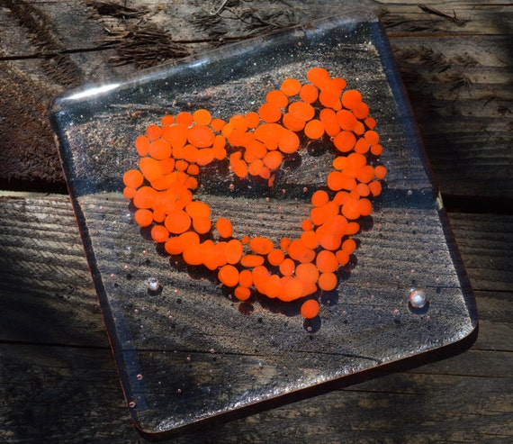 Cheerful Orange Speckled Heart Glass Coasters x 4- Made to Order
