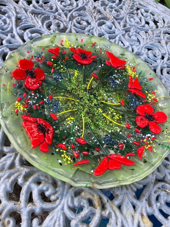 Fused Glass Round Decorative Poppy Plate / Dish / Platter - Gift, Birthday, Red, home decor, gardening, handmade, ruby, wedding, anniversary