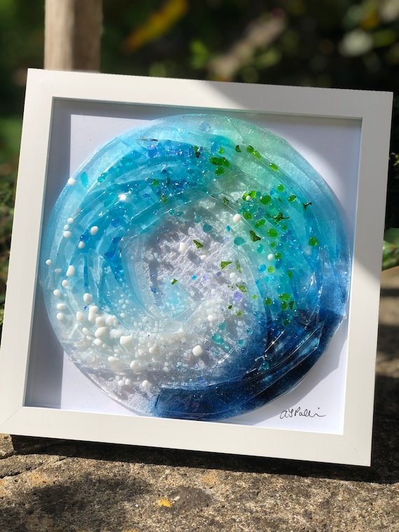 Blue Glass Wave Picture Framed - seaside, ocean, funnel wave, beach gifts, surfer gifts, summer, coastal gifts. sea glass, 50th, 60th, 70th