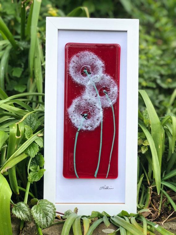 Red Glass Dandelion Picture - dandelion print, dandelion gifts, seedhead picture, milestone birthday, 50th birthday, ruby wedding, clock