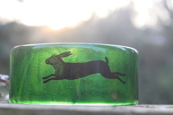 Glittery Green Glass Rabbit / Hare Curver Panel - home decor, suncatcher, gifts, birthday, present, handmade, anniversary, animal, wildlife