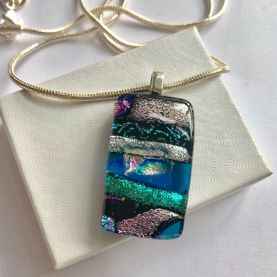 Turquoise & Silver Dicroic Glass Pendant Sterling Silver Chain - birthday, gift necklace, jewellery, handmade, summer, aqua, friend