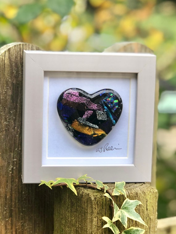 Black Glitter Glass Heart in frame - glass heart, heart picture, wedding gift, anniversary gift, engagement, valentines, love, dichroic