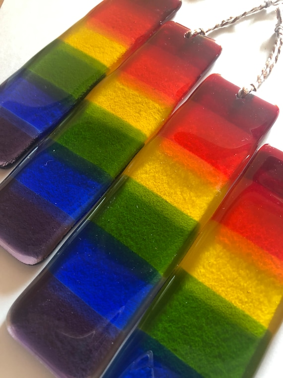 Glass Rainbow Long Suncatcher - Handmade, gift, birthday, window, cute, gifts, fused glass, cheerful, sunny, NHS