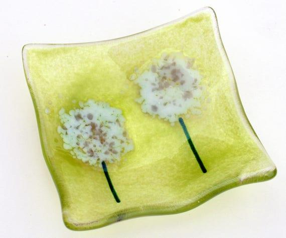 Green Dandelion Trinket Dish - Birthday, Mum, Gift, earring, valentines, love