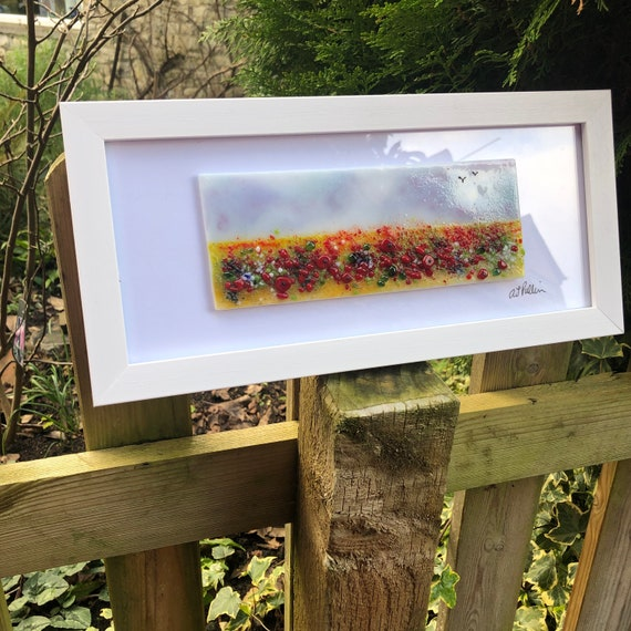 Whimsical Poppy Field Fused Glass Picture - gifts, homedecor, birthday, handmade, floral, poppies, red, mum, Nan, gardener, flowers, ruby