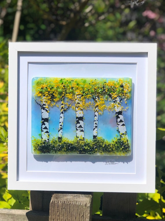 Glass Silver Birch Tree Picture - Birch tree gifts, gifts for men, fathers day, 50th, 60th, 70th, 80th, 90th, anniversary gifts, grandparent