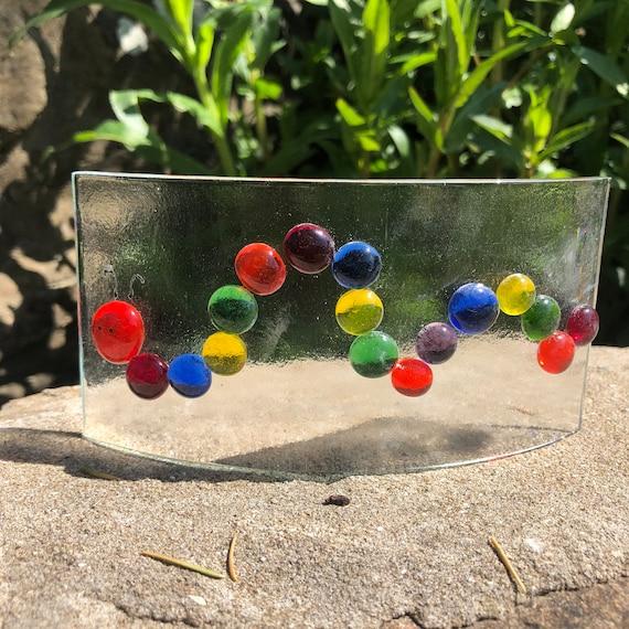 SALE!!! Fused Glass Rainbow Caterpillar Arc - gifts, birthday, NHS, handmade, Suncatcher, window, homedecor, kidsroom, children, cute hungry