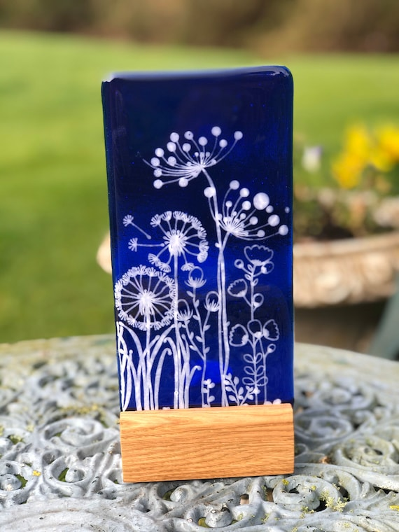 Blue Glass Floral Panel - Mother's Day, gifts, birthday, flowers, cow parsley, dandelion, homedecor
