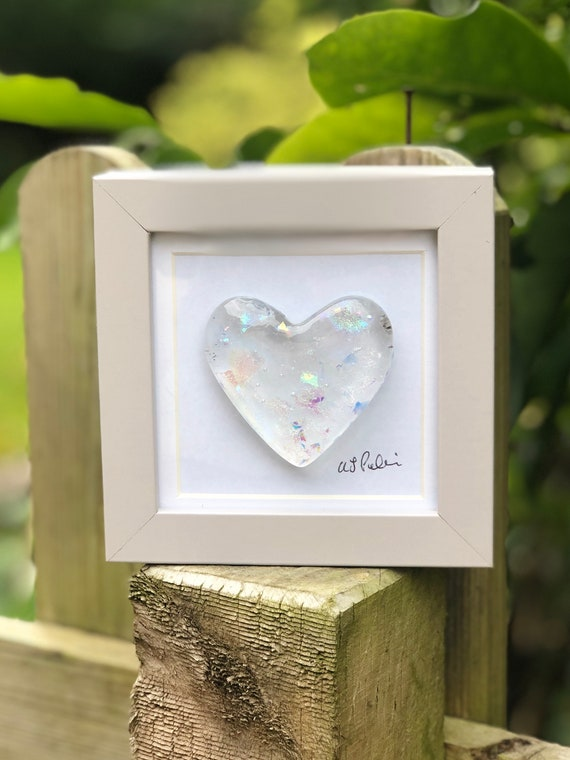 Clear Glitter Glass Heart in frame - glass heart, heart picture, wedding gift, anniversary gift, engagement, valentines, love, dichroic