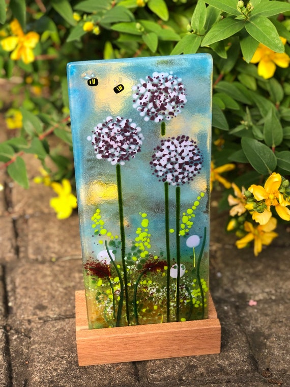 Cute Glass Bee and Allium Panel in Wooden Stand - flower, gift, birthday, purple, garden, wedding, anniversary, art, home decor