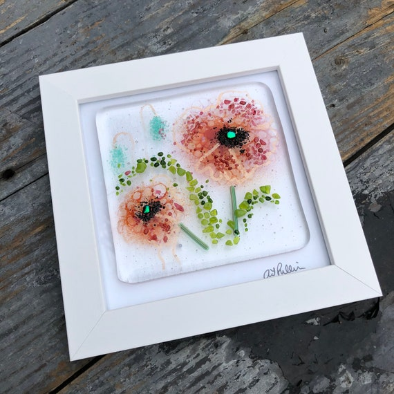 Red Poppy Glass Art Picture v2- gifts, birthday, flower, homedecor, flowers, mum, wedding, garden, present, ruby, poppies