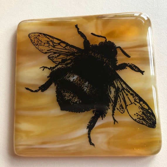 Bees In Honey Glass Coasters - handmade, bee, insect, homedecor, gifts, birthday, wedding, anniversary, tea, coffee, mum, friend