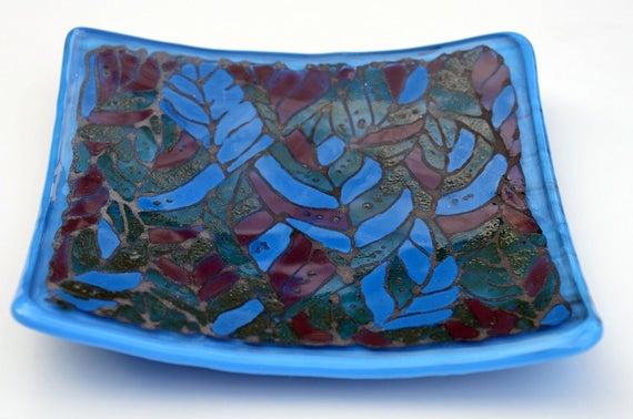 Blue Leaf Hand Painted Fused Glass Platter - candle, birthday, wedding, anniversary, gift, bathroom, soap, mum, sister, friend, nan, square