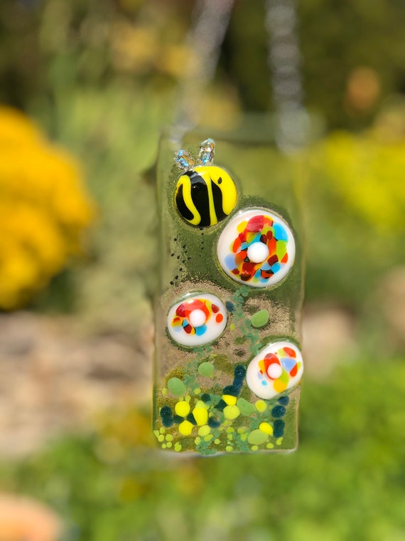SALE!!! Bumble Bee Flower Suncatcher - Handmade, gift, birthday, window, cute, gifts, fused glass, cheerful, sunny, NHS, bees homedecor