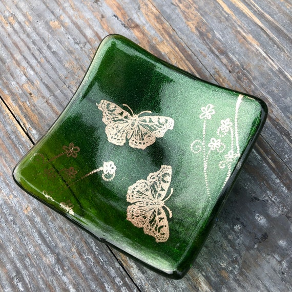 Sparkly Green Copper Butterflies Trinket Dish- Birthday, Gift, dressingtable, bedroom, girls, trees, nature, handmade, homedecor,ring, gifts