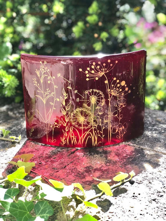 Transparent Ruby Red Free Standing Glass Curve with gold seed head decoration - ruby wedding anniversary gifts, wedding anniversary gifts