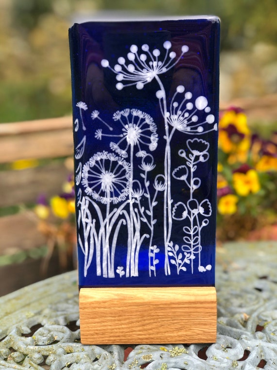 Blue Glass Floral Panel - Mother's Day, gifts, birthday, flowers, cow parsley, dandelion, homedecor v2