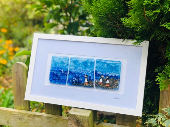 Puffin Glass Picture - Triptych Fused Glass, puffin gifts, blue glass, sea birds, puffin, ocean, sea glass, seaside, beach, rock pool