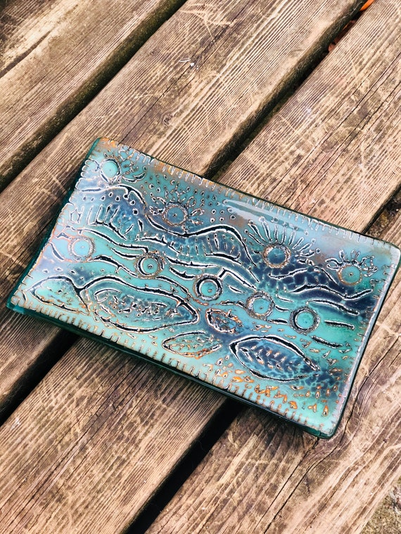 Glass Batik Style Turquoise and Green Platter - candy dish, nibbles tray, serving dish, gifts for mum, large soap dish, green glass, decor