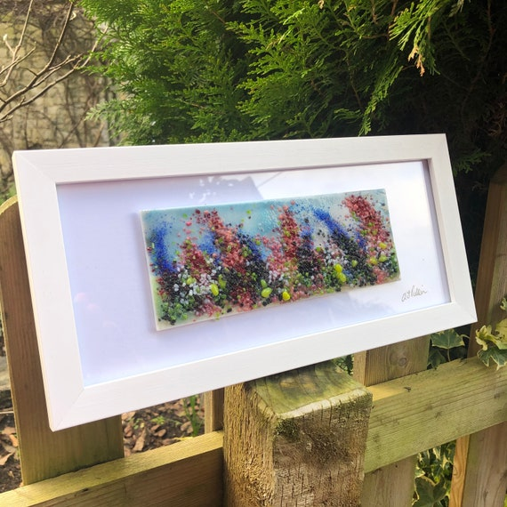 Whimsical Flower Garden Fused Glass Picture - gifts, homedecor, birthday, handmade, floral, pink, blue, mum, Nan, gardener, flowers