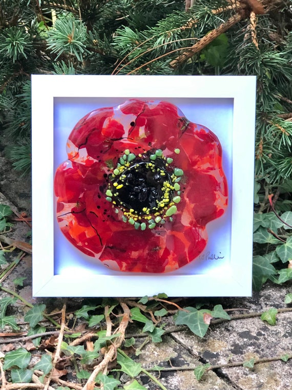 Red Glass Poppy Textured Picture White Frame - glass flower poppies, ruby wedding, 50th, 60th, 70th, retirement, anniversary, mums birthday