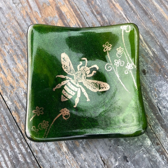Sparkly Green Copper Bee Trinket Dish- Birthday, Gift, dressingtable, bedroom, girls, trees, nature, handmade, homedecor, bees, ring, gifts